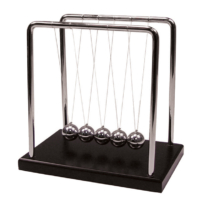 Newton's Cradle – Wood Base BLK 5″